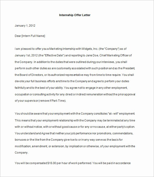 Internship Offer Letter Template Unique 31 Fer Letter Templates – Free Word Pdf format Download