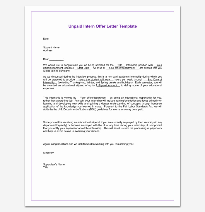 Internship Offer Letter Template Unique Internship Appointment Letter Template 10 Docs formats & Samples