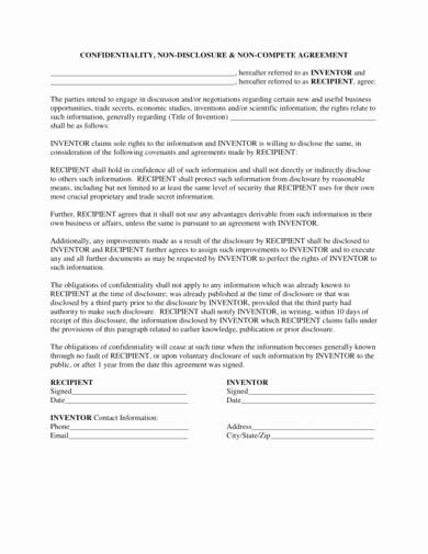 Invention Non Disclosure Agreement Pdf Awesome Free 14 Nondisclosure and Non Pete Agreement Samples In Pdf