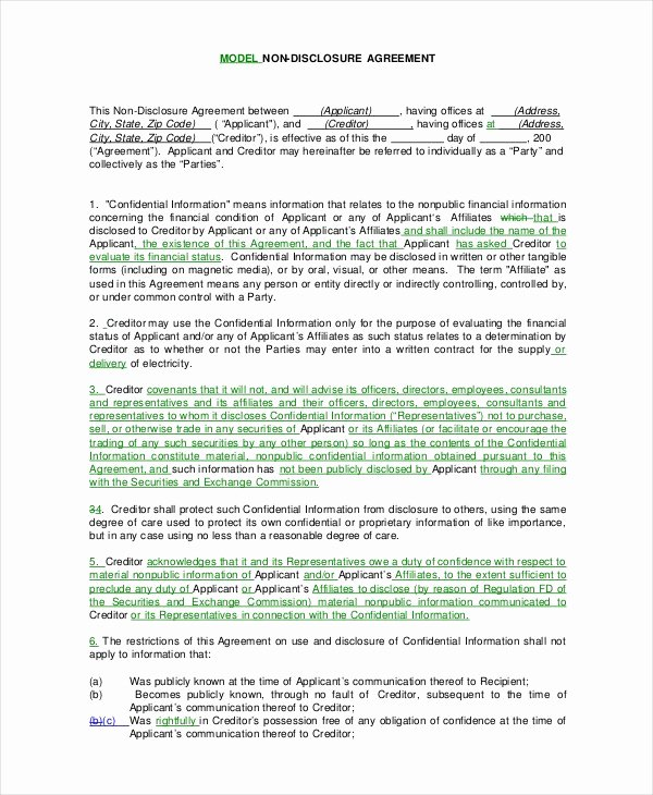 Invention Non Disclosure Agreement Pdf Fresh Standard Non Disclosure Agreement form 22 Free Word Pdf Documents Download