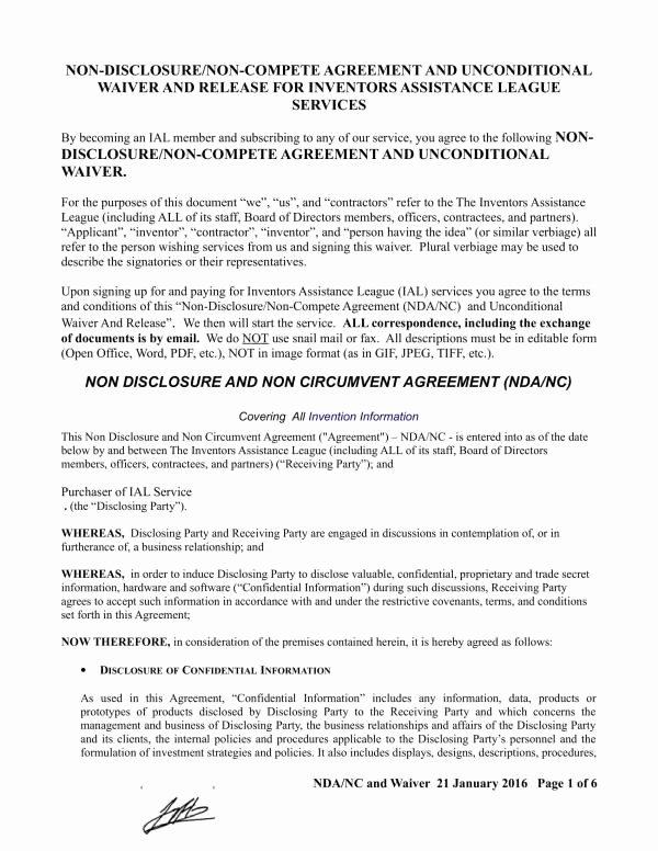 Invention Non Disclosure Agreement Pdf New Free 22 Non Disclosure and Non Pete Agreement Template In Pdf
