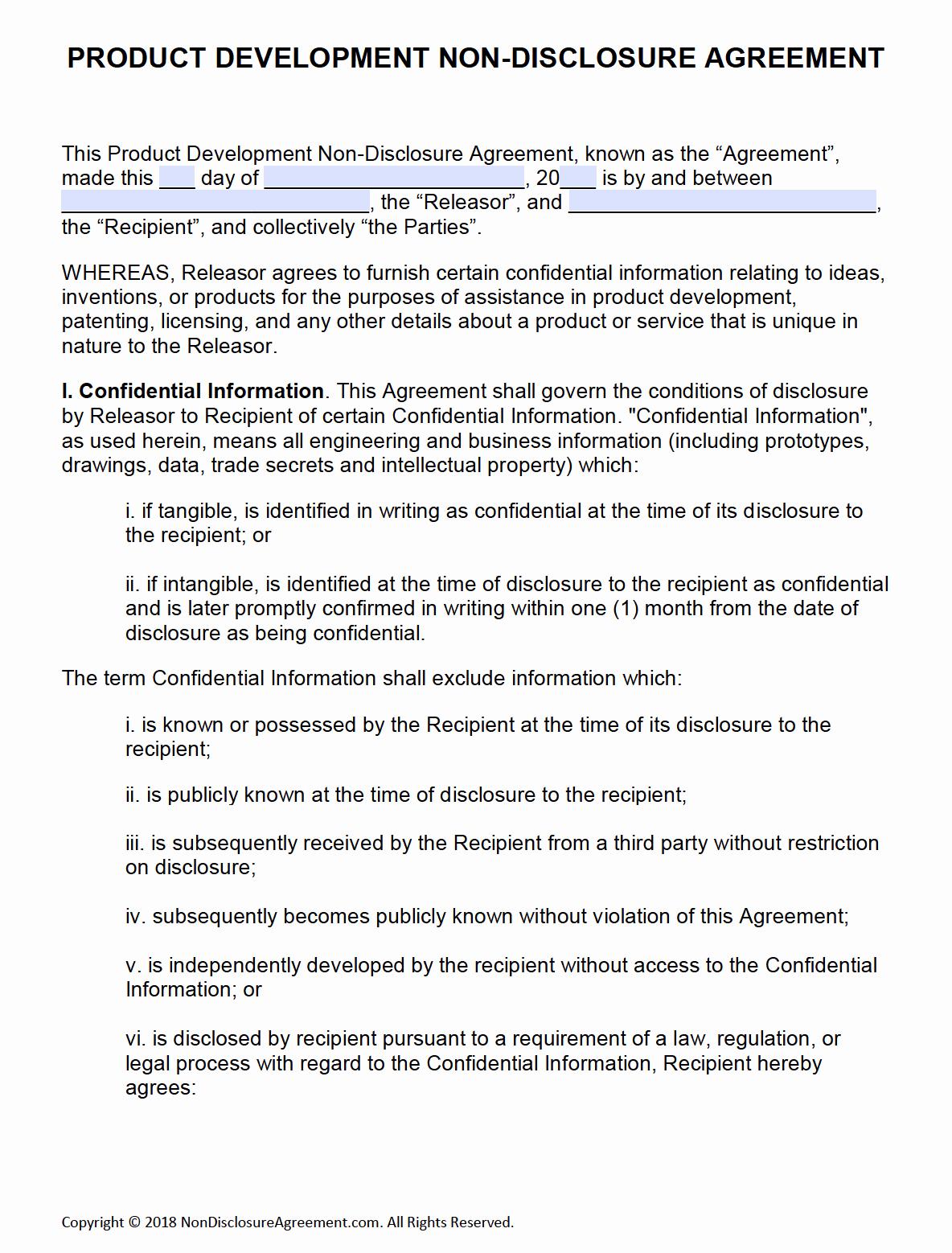 Invention Non Disclosure Agreement Pdf Unique Free Product Development Non Disclosure Agreement Nda – Pdf – Word Pdf