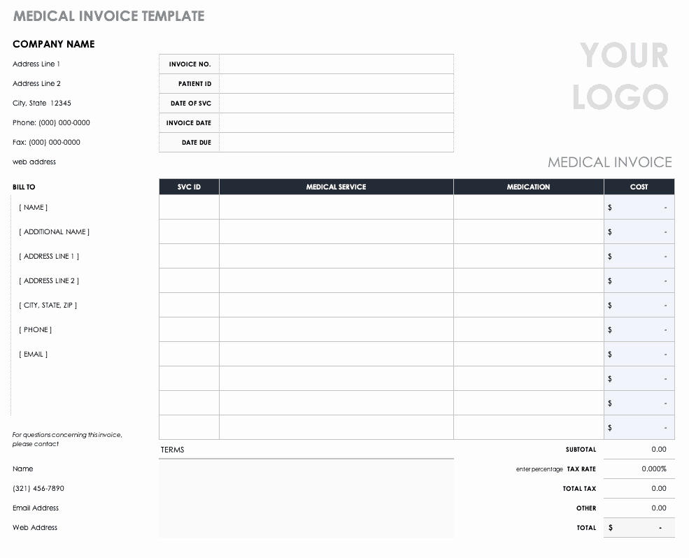 Invoice for Medical Records Template Luxury Free Medical form Templates