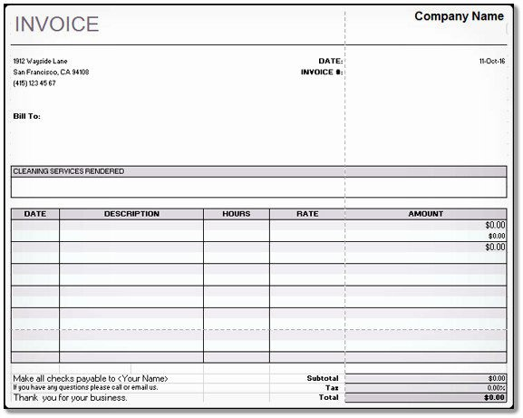 Invoice Template for Cleaning Services Fresh Cleaning Services Invoice Open Fice Calc – Word & Excel Examples