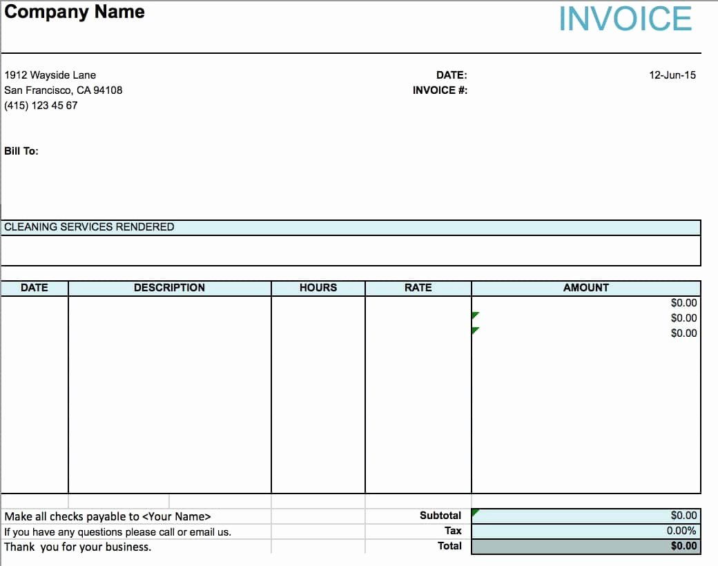 Invoice Template for Cleaning Services Lovely Cleaning Services Invoice Template
