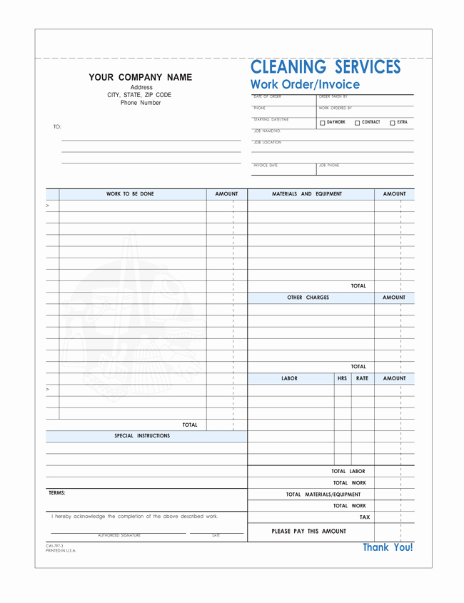Invoice Template for Cleaning Services Lovely Free Printable Cleaning Service Invoice Templates 10 Different formats