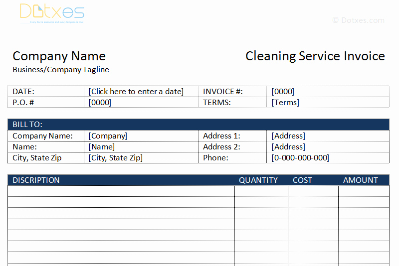 Invoice Template for Cleaning Services New Cleaning Service Invoice Template Dotxes