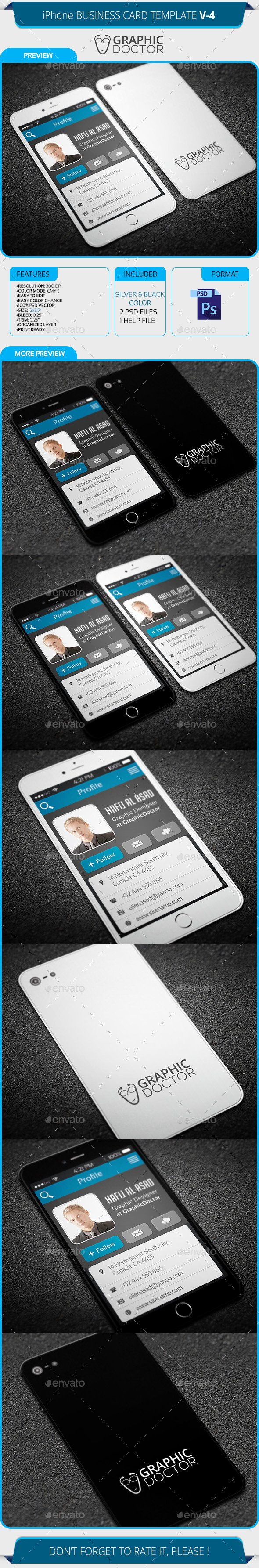 iPhone Business Card Template Fresh iPhone Business Card Template V 4 by Graphicdoctor