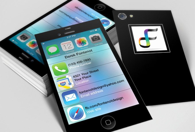 iPhone Business Card Template New Create Ios 7 iPhone themed Business Cards Fiverr