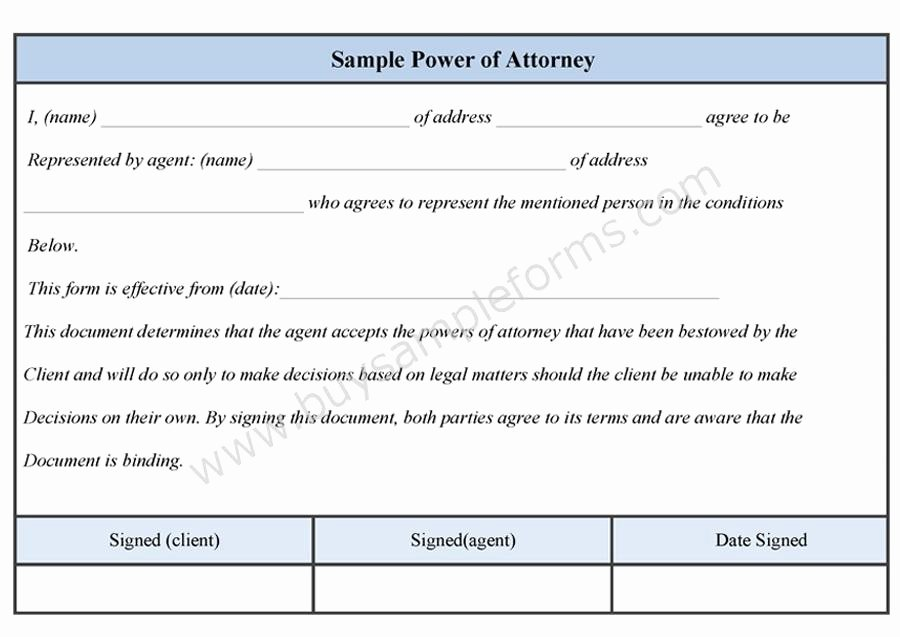 Irrevocable Power Of attorney form Luxury Sample Power Of attorney form Sample forms