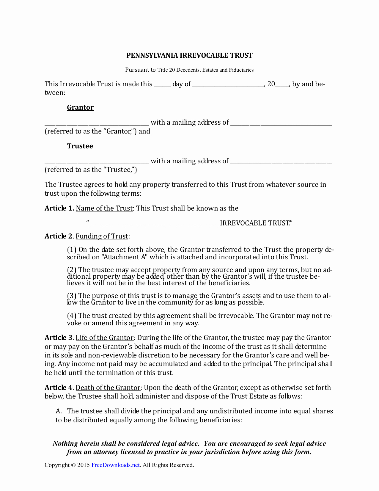 Irrevocable Power Of attorney forms Beautiful Download Pennsylvania Irrevocable Living Trust form Pdf Rtf Word