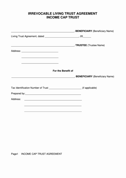 Irrevocable Power Of attorney forms Luxury Irrevocable Living Trust Agreement form In E Cap Trust Printable Pdf