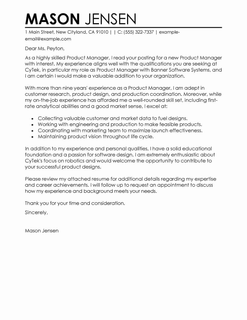 It Manager Cover Letter Beautiful Best Product Manager Cover Letter Examples