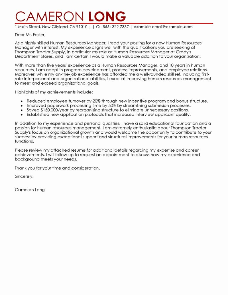 It Manager Cover Letter Lovely Best Human Resources Manager Cover Letter Examples