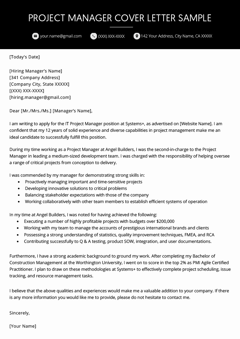 It Manager Cover Letter New Project Manager Cover Letter Example