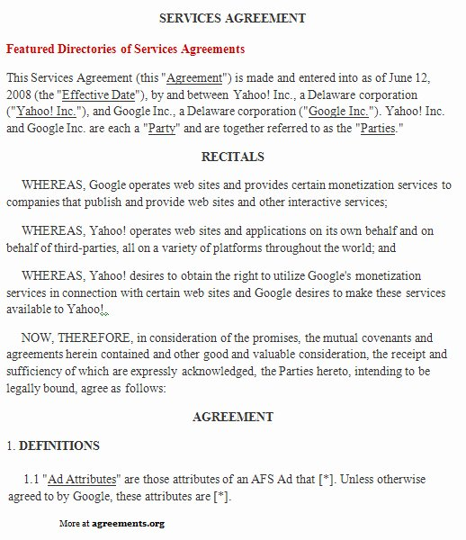 It Service Contract Templates Best Of Free Printable It Service Agreement Template form Generic