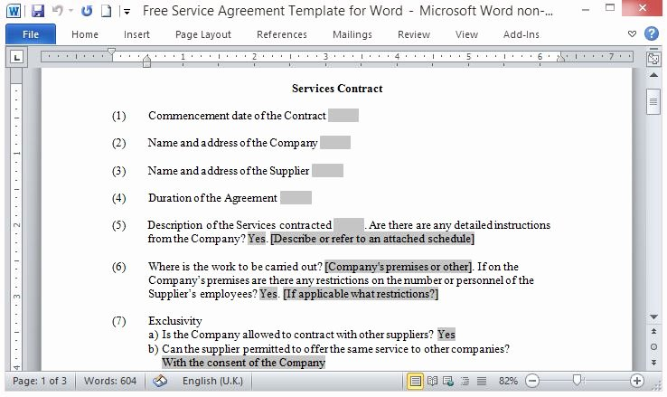 It Service Contract Templates Elegant Free Service Agreement Template for Word