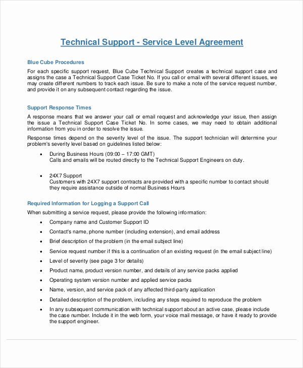 It Support Contract Template Best Of Service Level Agreement 22 Free Pdf Word Psd Documents Download