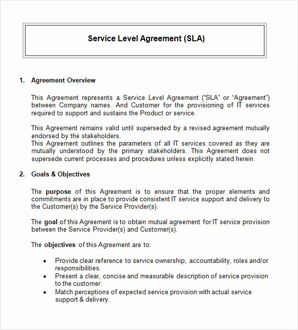 It Support Contract Template Inspirational Free 17 Sample Service Level Agreement Templates In Pdf Word