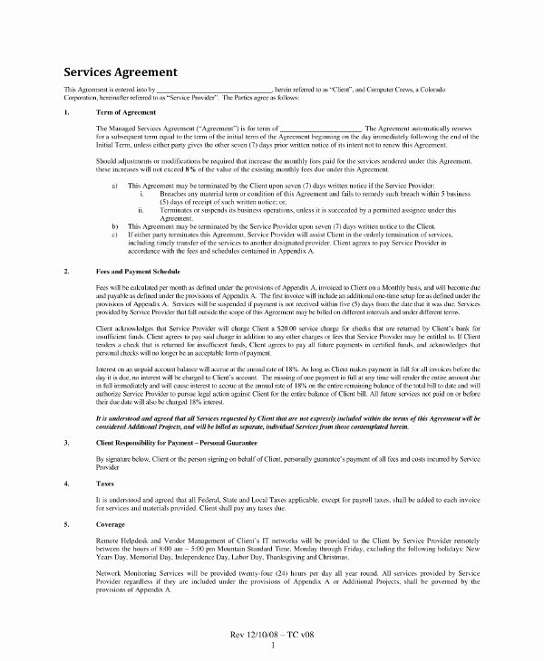 It Support Contract Template Unique 10 Managed Services Contract Example Templates Word Docs