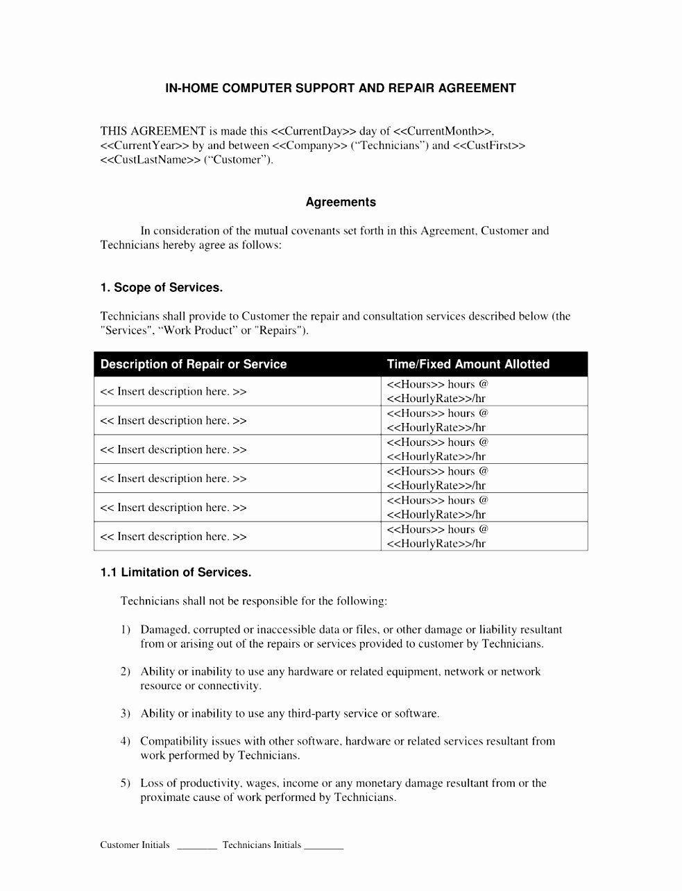 It Support Contract Template Unique 7 It Support Contract Templates – Free Word Pdf Design software Support Agreement Template