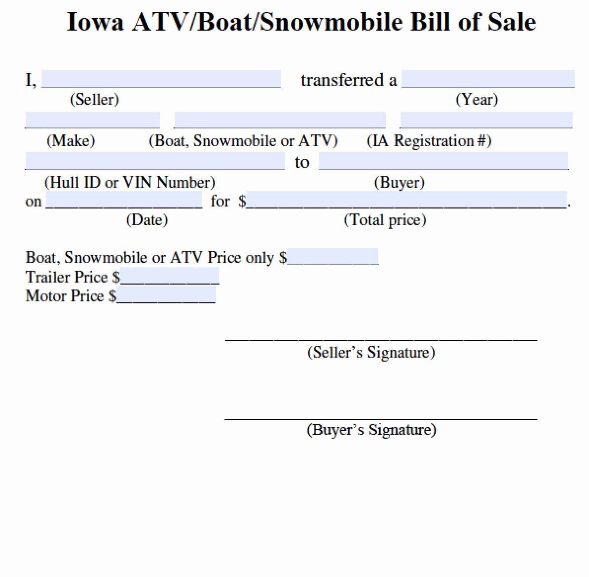 Jet Ski Bill Of Sale Best Of Free Iowa Bill Of Sale for atv Boat Snowmobile form Pdf