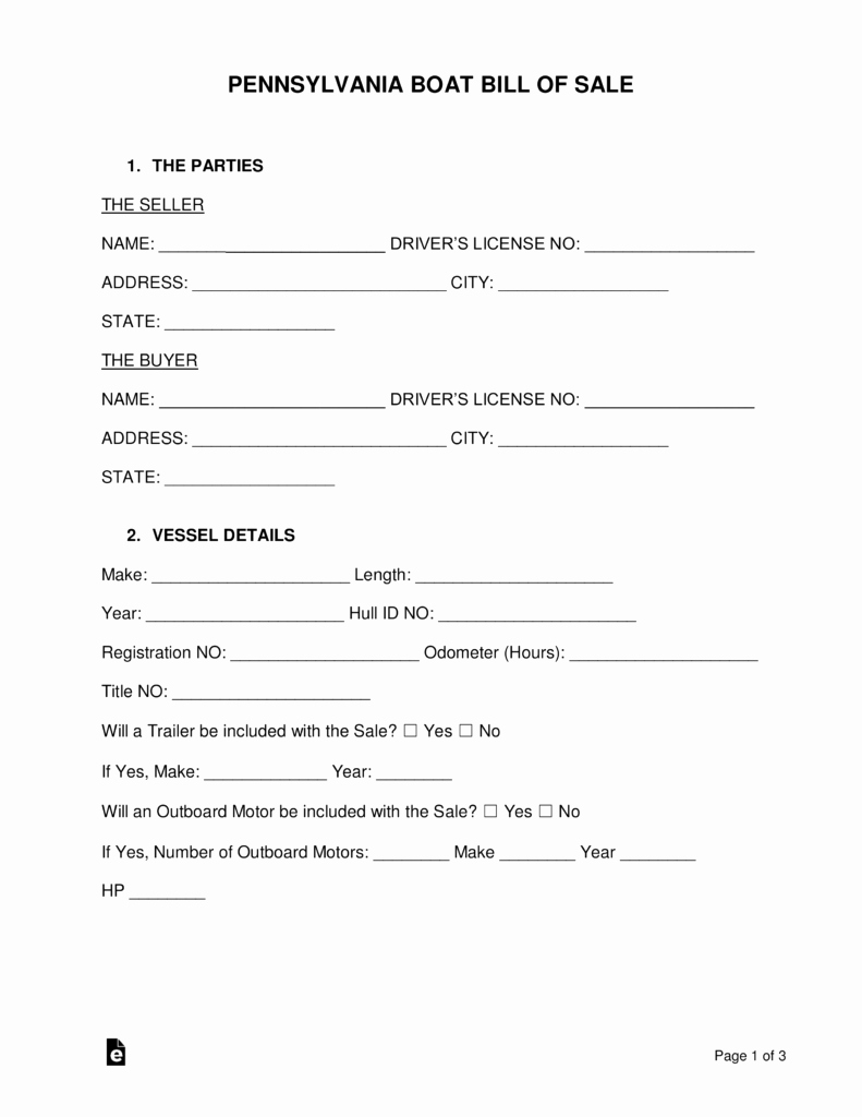 Jet Ski Bill Of Sale Inspirational Free Pennsylvania Boat Bill Of Sale form Word Pdf