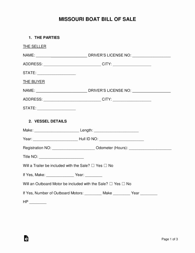 Jet Ski Bill Of Sale New Free Missouri Boat Bill Of Sale form Word Pdf