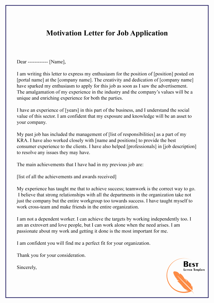 Job Application Template Doc Awesome How to Write A Motivation Letter for A Job – Pdf Word [doc ]