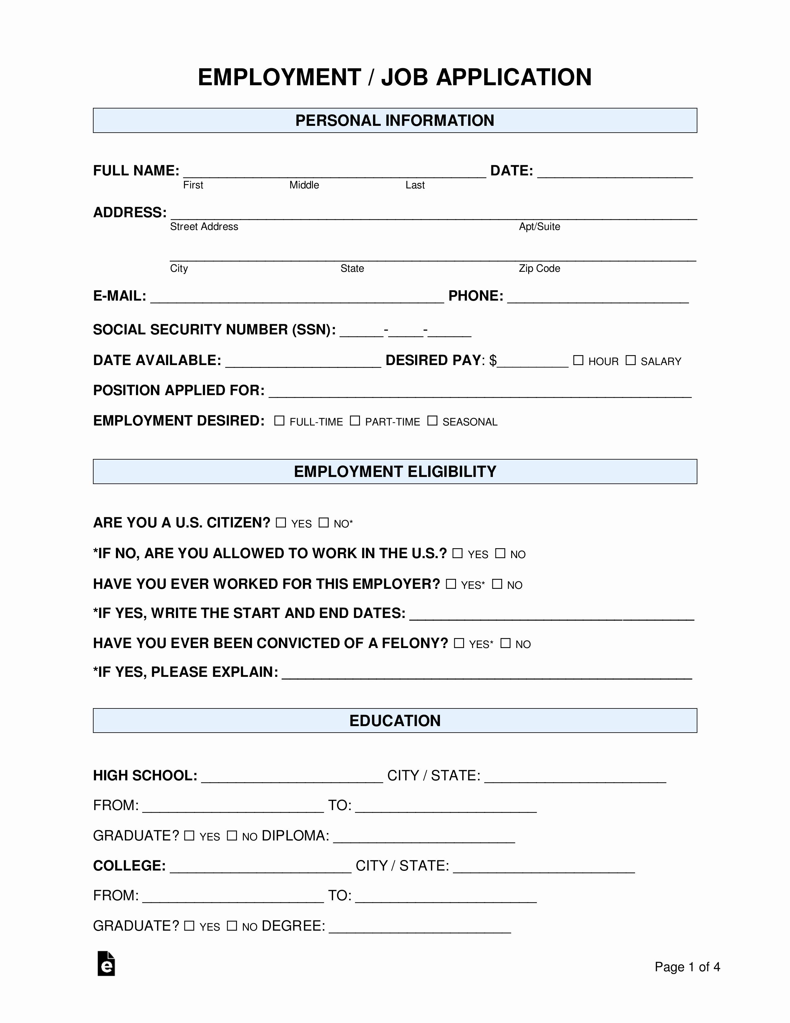 Job Application Template Doc Best Of Free Job Application form Standard Template Pdf Word
