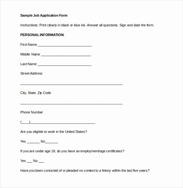 Job Application Template Doc Fresh Application form Template 18 Free Word Pdf Documents Download