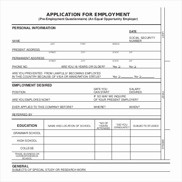 Job Application Template Doc Luxury Sample Employment Application forms 12 Free Documents In Pdf Doc