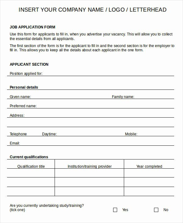 Job Application Template Doc New Blank Job Application 8 Free Word Pdf Documents Download