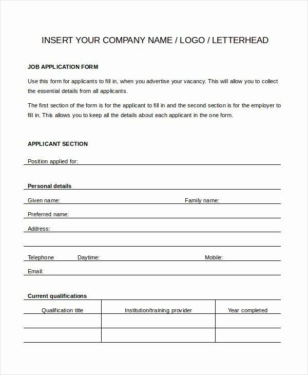 Job Application Template Doc New Generic Job Application 8 Free Word Pdf Documents Downlaod