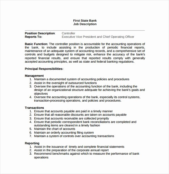 Job Description Template Google Docs Best Of 12 Controller Job Description Templates Free Sample Example format Download