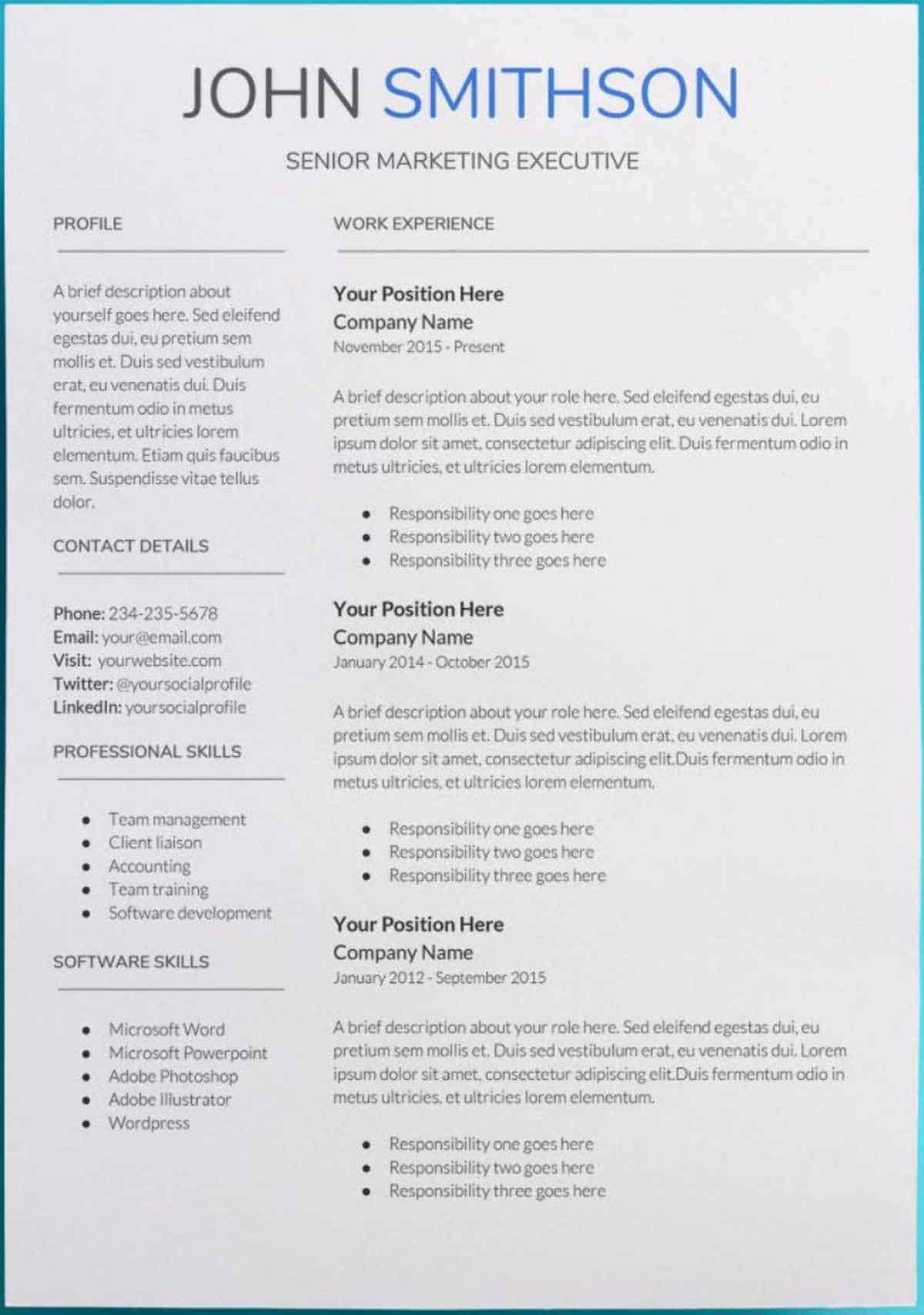 Job Description Template Google Docs Fresh 30 Google Docs Resume Templates [downloadable Pdfs]