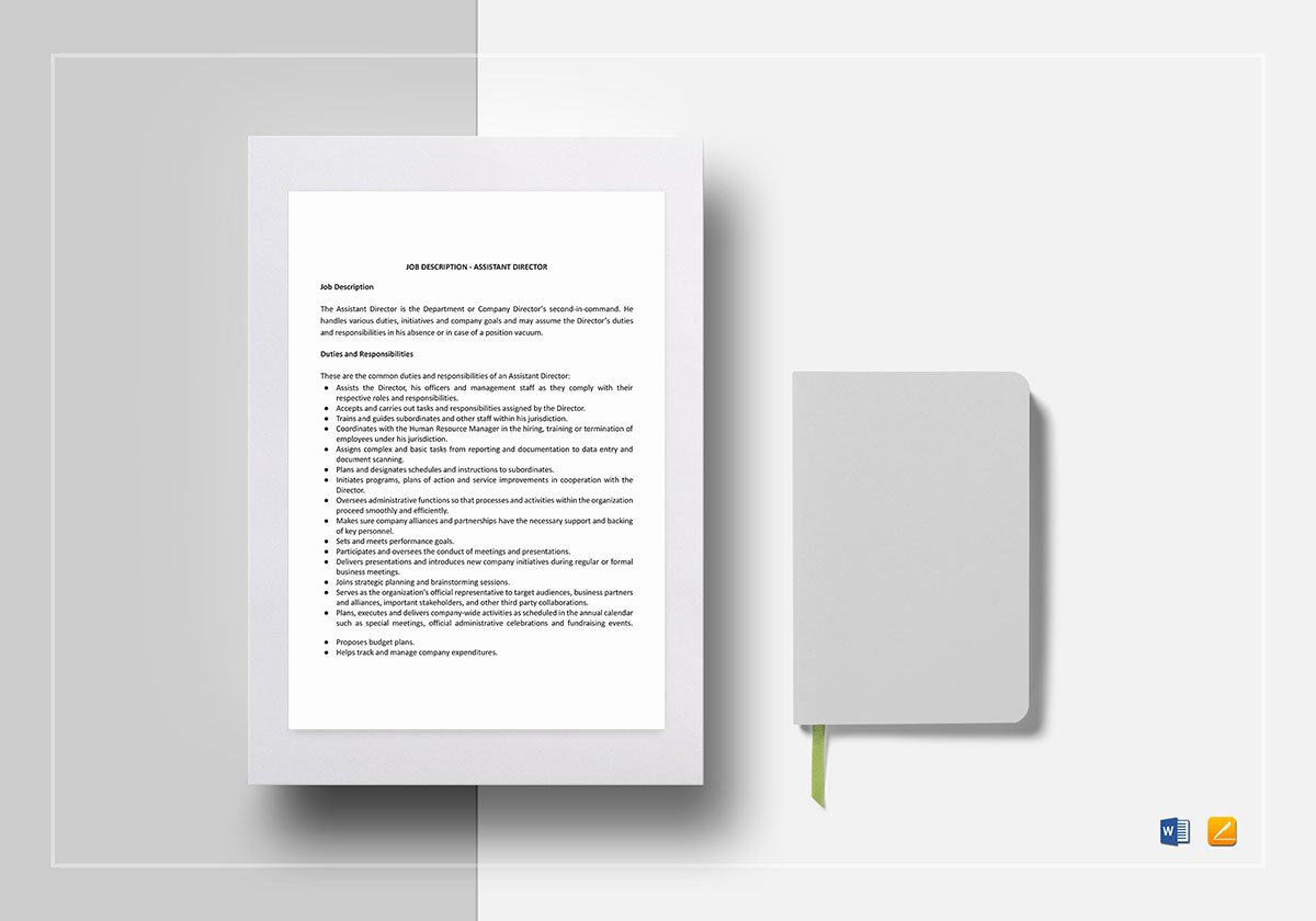 Job Description Template Google Docs Fresh assistant Director Job Description Template In Word Google Docs Apple Pages