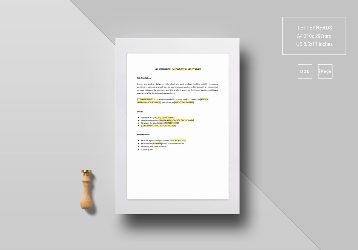 Job Description Template Google Docs Inspirational Intern Job Description Template In Word Google Docs Apple Pages