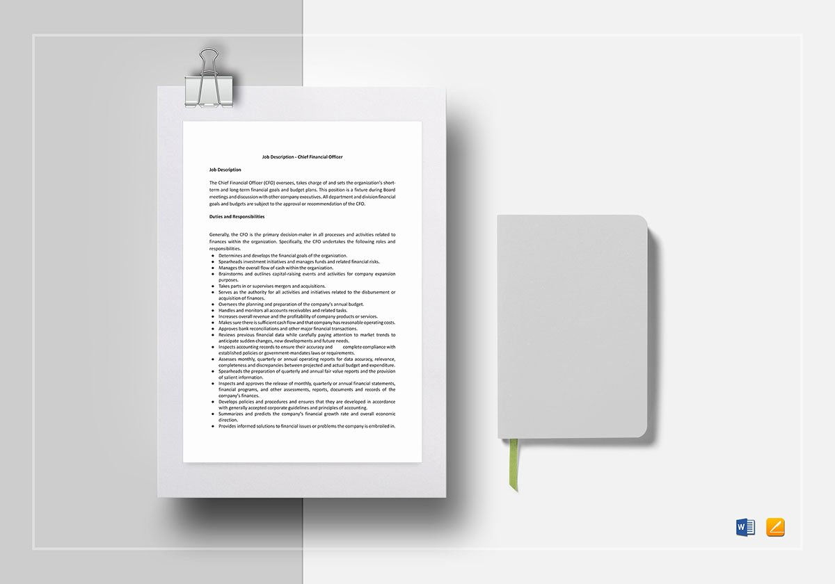 Job Description Template Google Docs Luxury Chief Financial Ficer Job Description Template In Word Google Docs Apple Pages
