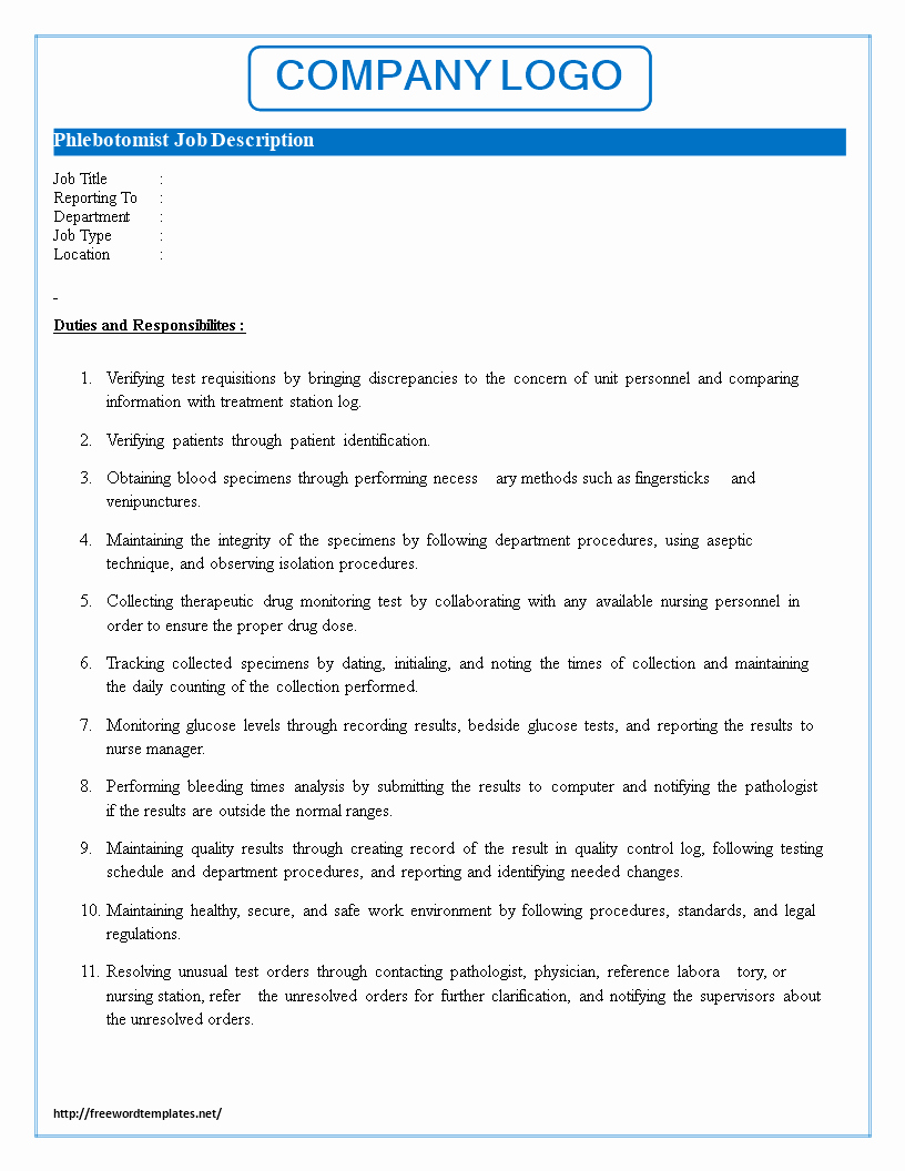 Job Description Template Google Docs Luxury Phlebotomist Job Description
