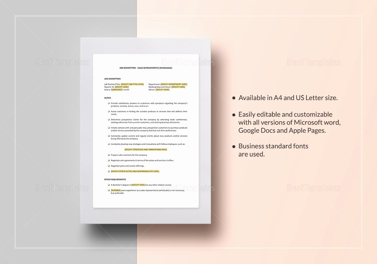 Job Description Template Google Docs Luxury Sales Representative wholesale Job Description Template In Word Google Docs Apple Pages