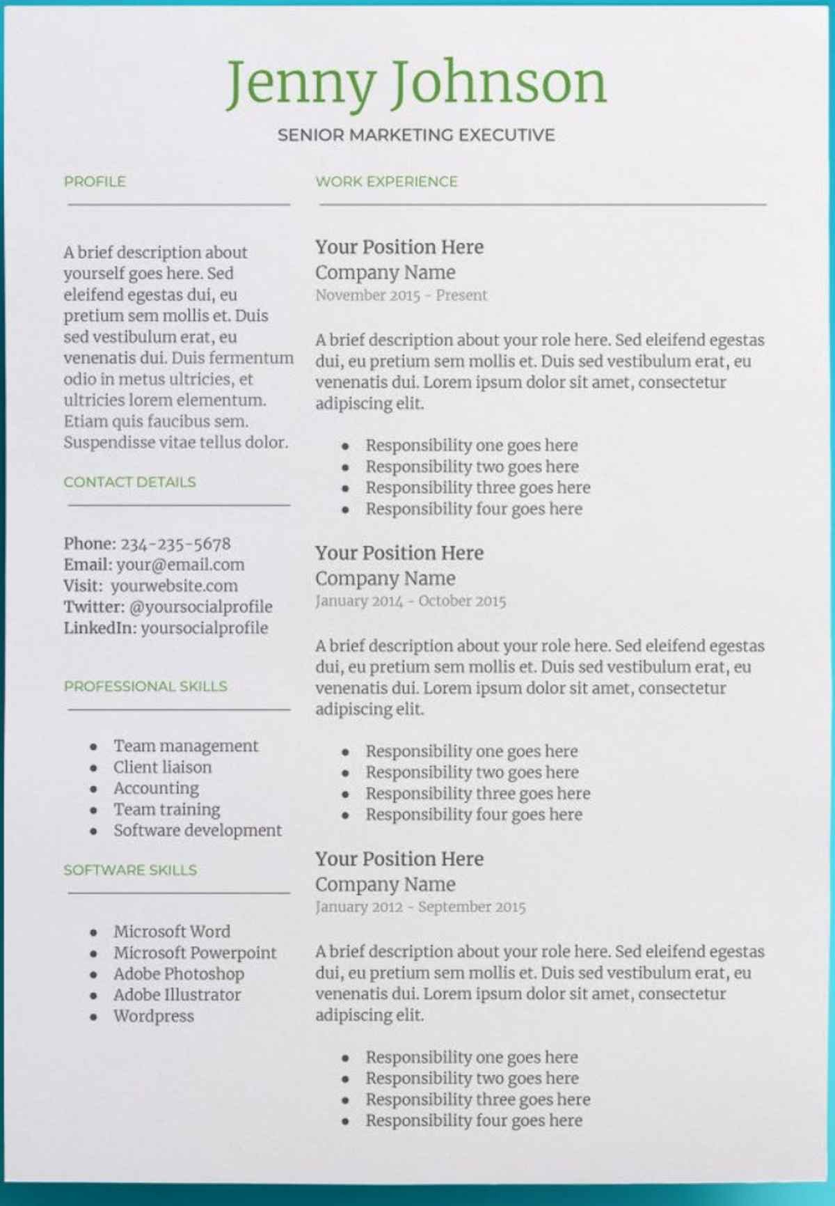 Job Description Template Google Docs New 30 Google Docs Resume Templates [downloadable Pdfs]