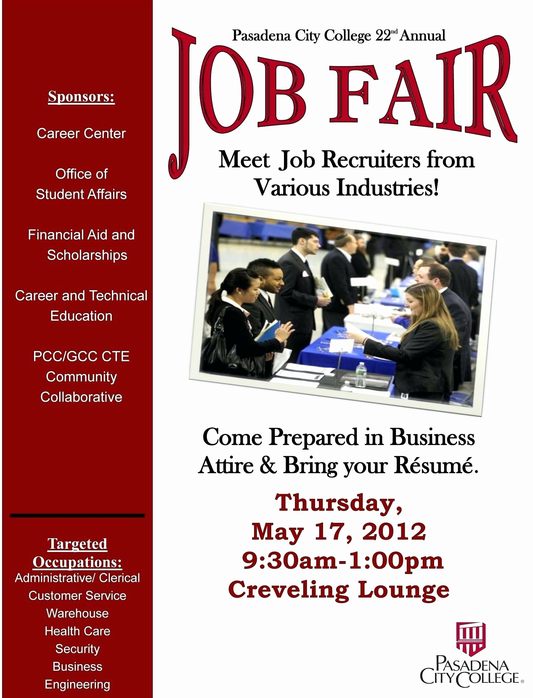 Job Fair Flyer Template Elegant Sample Job Fair Flyers