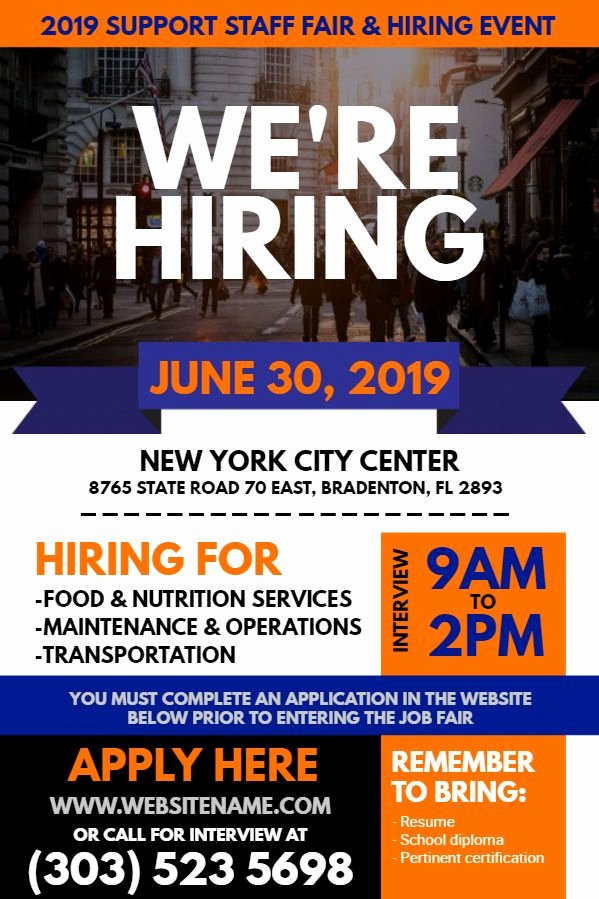 Job Fair Flyer Template Free Unique Blue orange Hiring Flyer Design to Customize Hiring Flyer Designs