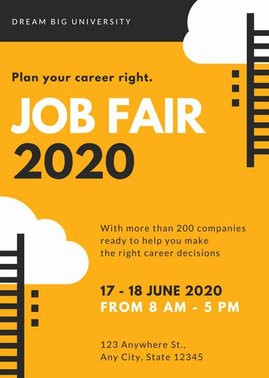 Job Fair Flyer Template Lovely orange and Black Vector Job Fair Flyer Templates by Canva