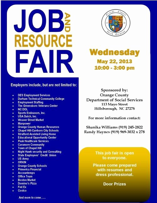Job Fair Flyer Template New orange County Skills Development Center