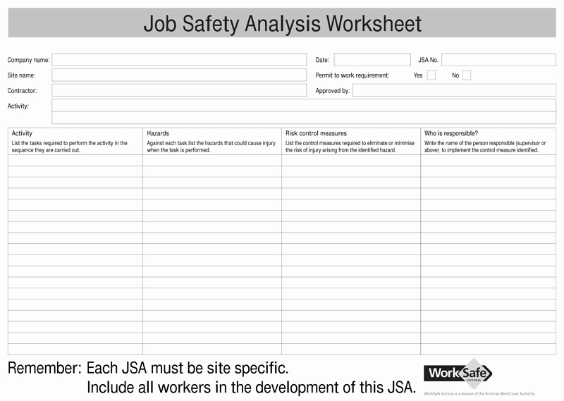 Job Hazard Analysis Examples Construction Awesome Job Safety Analysis Templates 4 Free forms for Word and Pdf