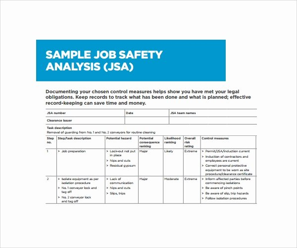 Job Hazard Analysis Examples Construction Awesome Sample Job Safety Analysis Template 6 Free Documents In Pdf