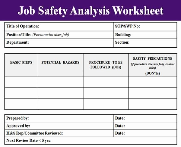 Job Hazard Analysis Examples Construction Fresh Blank Job Safety Analysis Excel Template Analysis Templates Pinterest