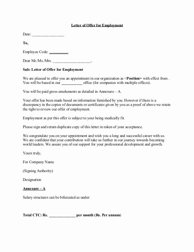 Job Offer Letter Sample Doc Elegant Fer Letter 5
